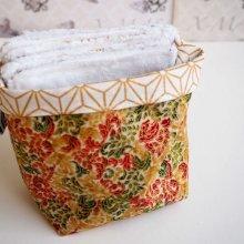 Pochon réversible et 7 lingettes démaquillantes lavables, coton, tissu japonais ocre, doré