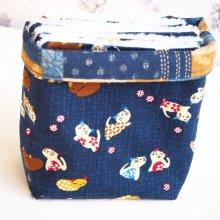 Pochon réversible et 7 lingettes démaquillantes lavables, coton, bleu marine chats