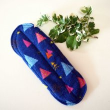 Serviette hygiénique T2 eponge 2 épaisseurs, lavable, bleu avec sapins
