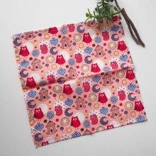 Petit mouchoir/serviette, coton , lavable, réutilisable, 27x27cm, rose chouettes rougess