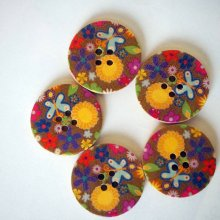Gros bouton bois, vendu à l'unité, 30mm, fleurs décors années 60