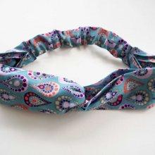 Bandeau coton noué, lavable, bleu avec gouttes, élastique au dos, 26cm non étiré