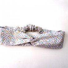 Bandeau coton noué, lavable, blanc petits pois, élastique au dos, 26cm non étiré