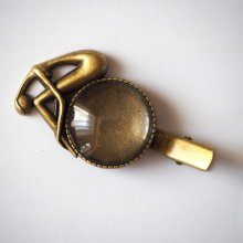 Barrette pince femme pensive, bronze antique, cabochon 25mm  fourni