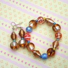 Bracelet+boucles d'oreilles en verre et agate tons orangés et turquoise sur élastique