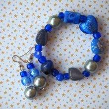 Bracelet+boucles d'oreilles ton bleu turquoise: verre, cristal, résine, agate
