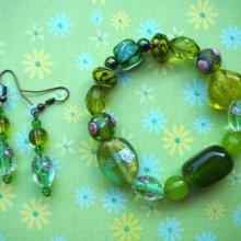 Bracelet+boucles d'oreilles ton vert: verre,   agate