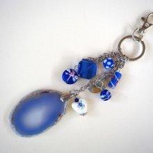 Bijou de sac, 20cm, belle agate bleue 5,5x4cm, perles verre, agate et porcelaine