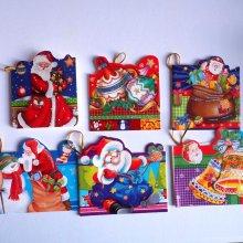 Lot de 6 cartes double pour cadeaux ,  NOËL et Cadeaux, 5,5x8cm  environ