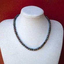 Très beau collier en perles d'eau douce, gris nacré, 40cm, idéal cérémonie, mariage