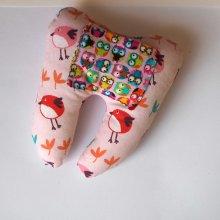 Grosse DENT tissu avec poche pour pièce, 12x13x5cm, motifs oiseaux/chouettes/rose