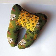 Grosse DENT tissu avec poche pour pièce, 12x13x5cm, motifs fleurs paresseux
