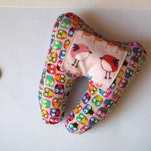 Grosse DENT tissu avec poche pour pièce, 12x13x5cm, motifs chouettes/oiseaux