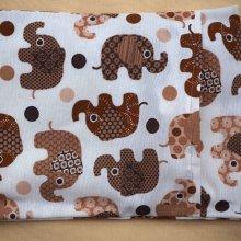 Bouillotte coton déhoussable avec éléphants marron, 21x29cm