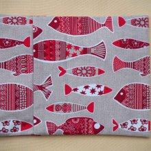 Bouillotte coton déhoussable gris avec poissons, 21x29cm