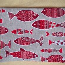Bouillotte coton déhoussable poissons bordeaux, 21x29cm