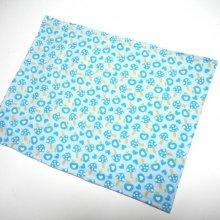 Grande bouillotte sèche en Flanelle, bleu clair petits coeurs, 23x30cm