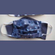 Masque de protection lavable, plissé, réversible, ton gris avec étoiles