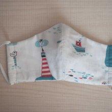 Masque de soin et de protection , 3 épaisseurs, coton fantaisie avec étoiles, bleu et gris