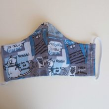 Masque de soin et de protection , 3 épaisseurs, coton fantaisie ton bleu, chats et tigres