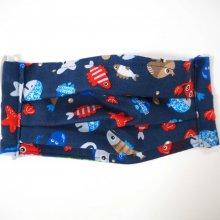 Masque en tissu , plissé, avec pince-nez, 3 épaisseurs, poissons
