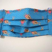 Masque en tissu , plissé, avec pince-nez, 3 épaisseurs, petits lapins