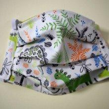 Masque en tissu , plissé, avec pince-nez, 3 épaisseurs, dinosaures