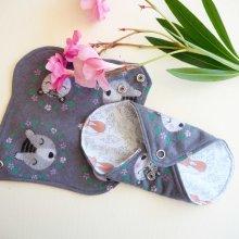 Protège slip lavable et réutilisable, flanelle et PUL, fanelle grise avec ours, PUL chats