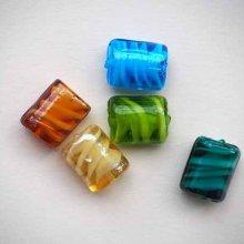 Lot de 5 Perles verre , italian style, restangulaires15x12mm, tons bleu vert orange
