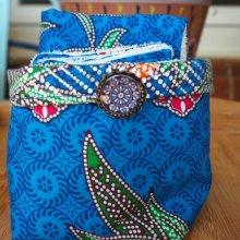 Panier tissu et 14+1 lingettes lavables, ton bleu wax