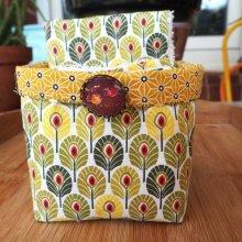Panier tissu et 14+1 lingettes lavables, ton jaune