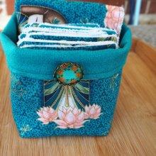 Panier tissu et 14+1 lingettes lavables, ton bleu canard avec japonaises