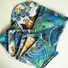 Pochette Nomade + 6 lingettes assorties, lavable, réutilisable, coton bleu/vert et doré
