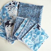 Pochette Nomade + 6 lingettes assorties, lavable, réutilisable, coton kaufman ton bleu et argent