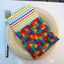 Serviette de table 33x33cm, coton puzzle coloré