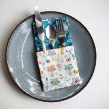 43- Serviette de table 33x33cm, bleu chats/fond marin