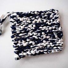 Eponge TAWASHI bleu+ couleurs, 10x10cm, jersey de coton