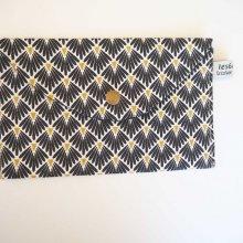 Pochette doublée, coton eventails noir, coton   19x11cm