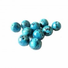 Lot de 10 perles rondes jasper bleu : 10 mm