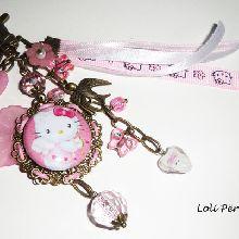 Bijoux de sac/porte clefs chaton rose avec perles de verre
