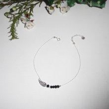 Bracelet/chaine de cheville avec aile et perles en cristal de bohème noir sur chaine argent 925