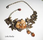 Bracelet/chaine de cheville originale avec fleur ceramique, oeil de tigre sur feuillage bronze