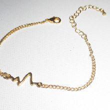 Bracelet chaine doré avec électrocardiogramme, son dernier battement de coeur