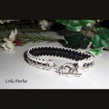 Bracelet original avec chaine sur galon noir et blanc
