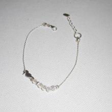 Bracelet original hippocampe et petites perles en cristal sur chaine fine en argent 925