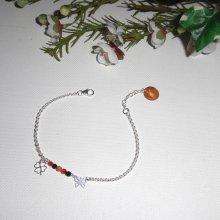 Bracelet papillon et trefle avec petites agates sur chaine argent 925