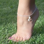 Bracelet/chaine de cheville argent 925 avec feuilles en nacre