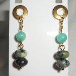 Boucles d'oreilles pierres de jaspe verte sur chaine or acier inoxydable