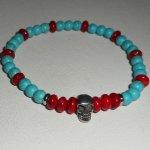 Bracelet en gorgone et turquoise avec tête de mort en acier inoxydable