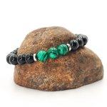 Bracelet homme en pierre de malachite avec onyx et perles acier inox